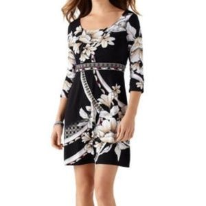 WHBM jersey floral sheath dress ruched sleeve